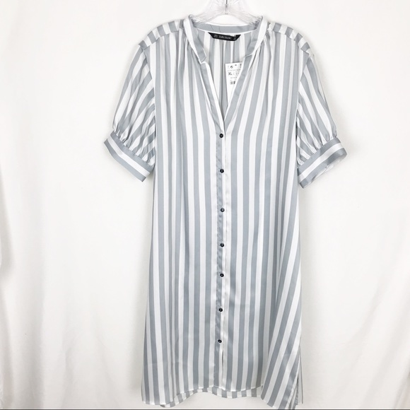 42cc61b4eb Zara Dresses | Gray And White Vertical Striped Shirt Dress | Poshmark